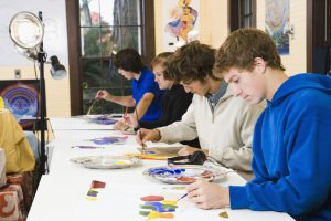 Students in an art class